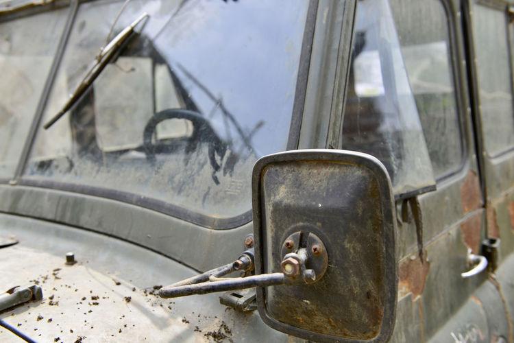 Close-up of damaged car