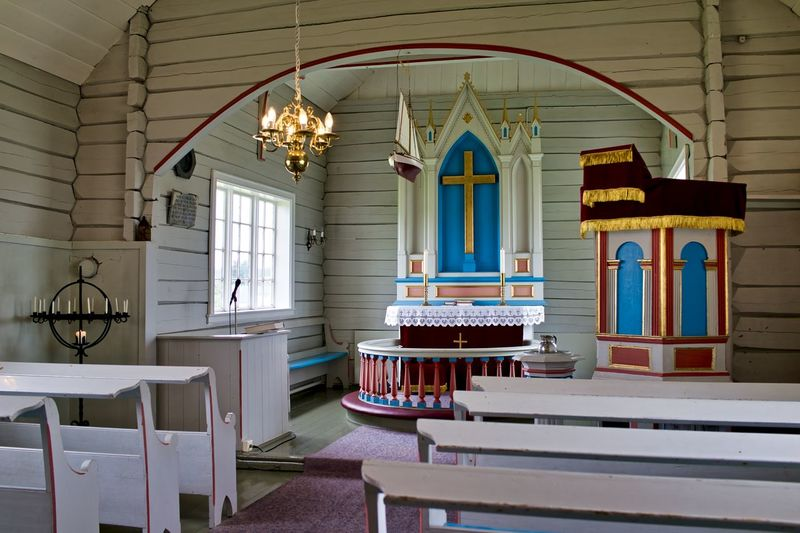Norway, Utsira: interior of Utsira kirche, church Horizontal Day Church Wooden Architecture Seat Built Structure No People Indoors  Building Window Table Lighting Equipment Ceiling Illuminated Place Of Worship Chair Furniture Belief Religion Absence Spirituality Arch Luxury Electric Lamp