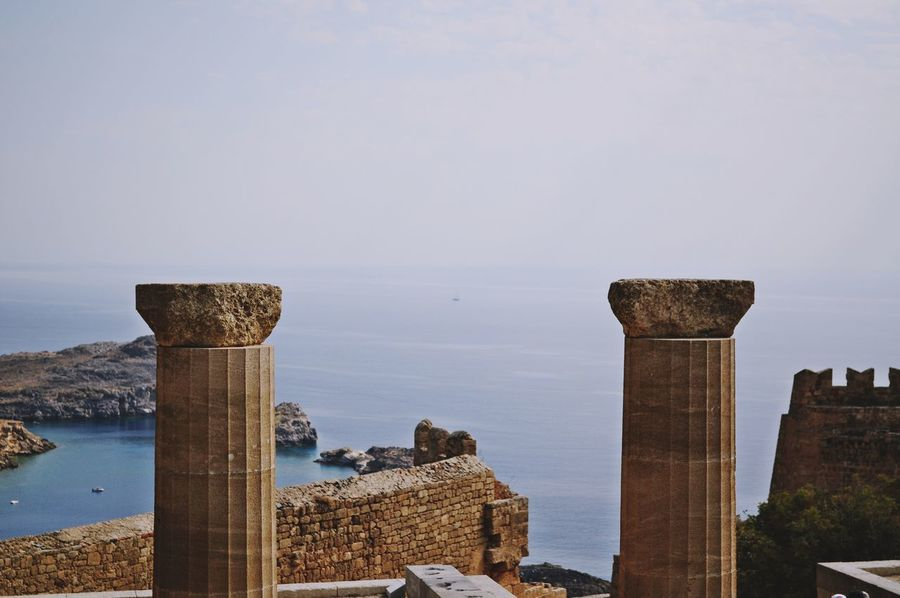 The twins / Hold Up! Lindos Greece Greece Islands Horizon Horizon Over Sea LINE Sky Sky_collection Historical Building History Sea Seascape Landscape_Collection Memories EyeEm Best Shots EyeEm Gallery Eye4photography  Immense Taking Photo Simple Photography Seascape Photography My Point Of View Outdoors Travel Photography The Greatest View From Here