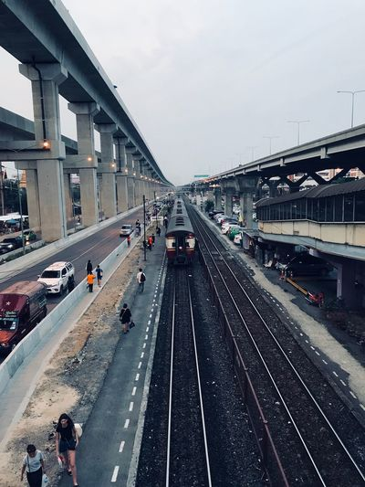 Train route Transportation Architecture Built Structure Sky Mode Of Transportation Car Road City Travel High Angle View