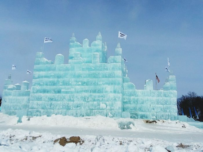 Ice castle ❄🌬❄ pic taken Detroit Lakes mn at the ice festival Ice Frozen Nature Ice Blocks Castle Sky No People Outdoors Urban Skyline Landscape Architecture Building Exterior Nature