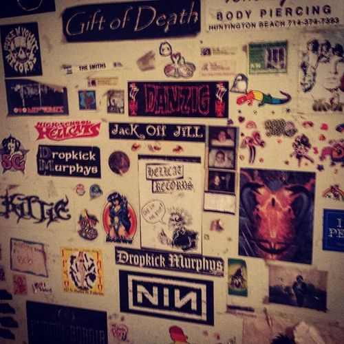 This is my best friend's door. It's looked like this since we were kids. I had the most amazing wave of nostalgia when I saw it. I love you @allxbeautyxdestroyed_ don't ever change. Nostalgia Stickers Bff Bettiepage Nin Dimmuborgir DropkickMurphys Pukeandvomitrecords Kittie Danzig Giftofdeath Ipsofacto Jackoffjill Leatherface Thedoors Doorsondoors