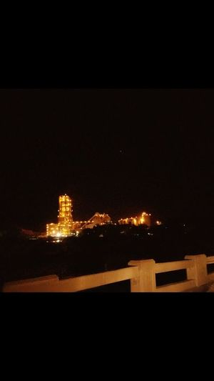 Watching From Afar Lights Industrial Working Around The Clock Production Non Stop  Cement Plant Night
