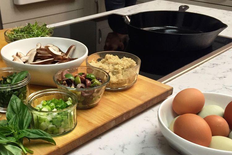 Foodphotography Food Cooking Process Eggs... Cooking Ingredients Mushrooms Vegetables Herbs Cooking Ingredient Cooking At Home Cooking No People Cast Iron Skillet