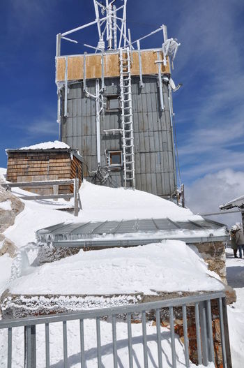 Alps Alpine Snow Old Weather Station In The Zugspitze Germany To Ski Meteorological Station Built In 1900