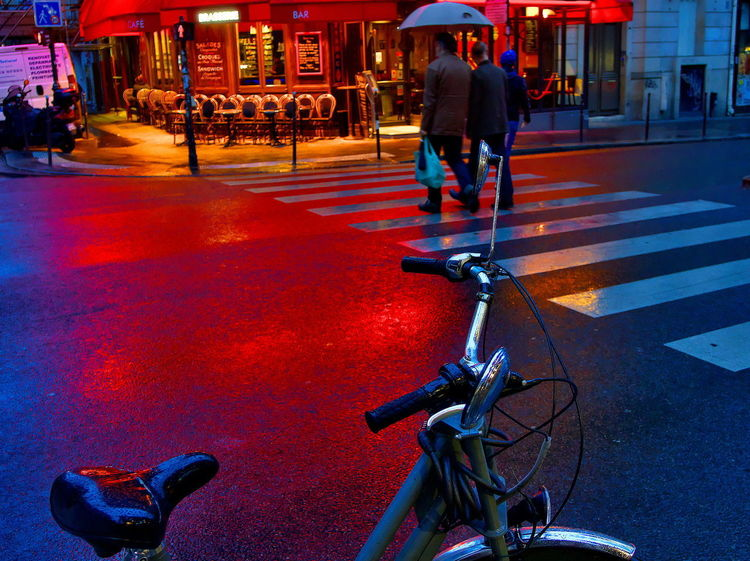 Red lights on wet road 2017 2017-05 2017-5-11 Light Bicycle Bike City Street Cycling Illuminated Mode Of Transport Night Outdoors Red Color Street