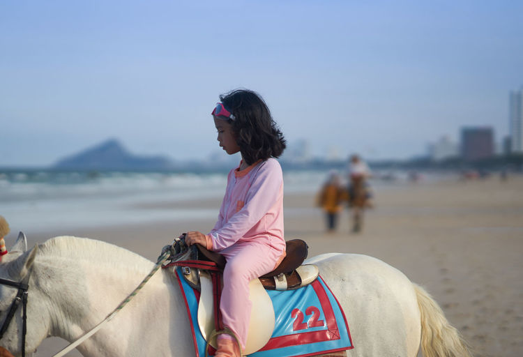 Cute girl sitting on horse at beach