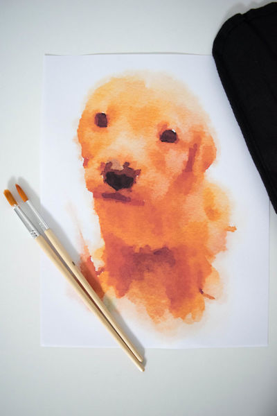 Adorable Dog Art Art And Craft Art By Gina Collins ArtWork Brushes Close-up Creative Cute Pets Dog Hobby Indoors  Labrador Labrador Retriever Missyvcollins No People Paint Brushes Painting Pet Puppy Tools Of The Trade Virginia Watercolor Watercolor Painting Yellow Dog