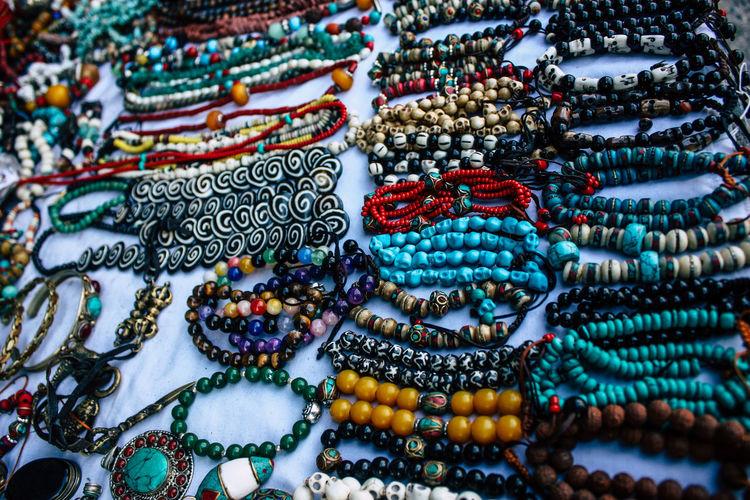 Full frame shot of multi colored handcrafts for sale in market