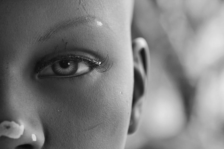 eyed Headshot Fragility Black And White Portrait Face Woman Mannequin Look Looking HEAD Intense Looking At Camera Looking Through Intensity Close-up Close Up See Strong Young Women Human Eye Portrait Beautiful Woman Women Human Face Eye Close-up Eyebrow Eyelash Eye Make-up Eyeball