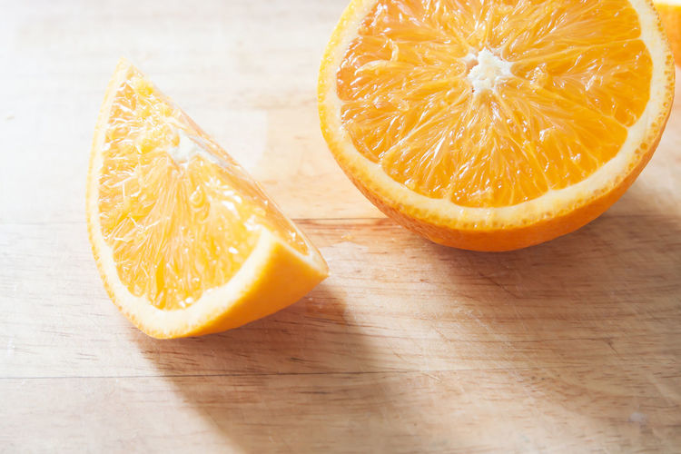 High angle view of orange on table