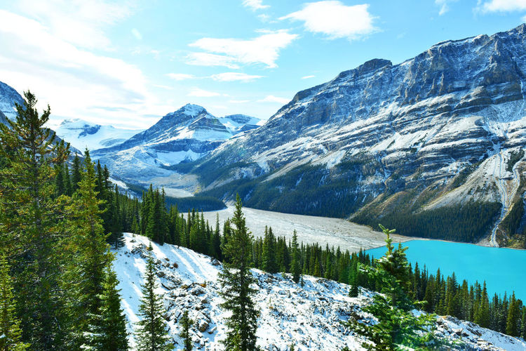 Scenic View Of Peyto Lake By Snowcapped Mountains Against Sky