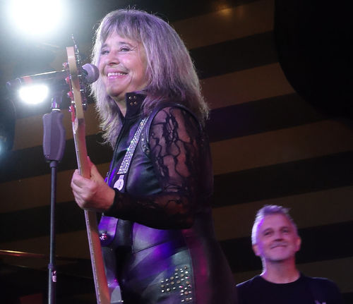 The awesome Suzi Quatro performing live to a huge audience on the MV Magellan cruise ship - Rock the Boat UK 2017 cruise 1960's Rock Group Base Guitar Devil Gate Drive Live On Stage Music Rock The Boat UK 2017 Suzi Quatro Awsome Performance Casual Clothing Close-up Happiness Illuminated Indoors  Leather Clothes Leisure Activity Lifestyles Night One Person People Real People Rock Legend Rock Music Smiling Stage Lighting Standing Young Adult Young Women California Dreamin
