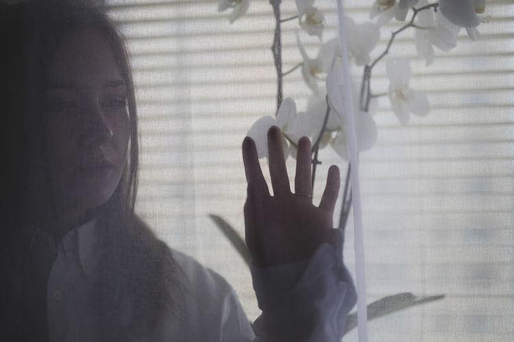 Close-up of human hand on glass window