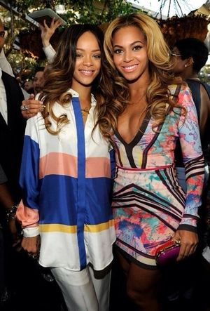 Rihanna and Beyonce at the Roc Nation's Pre-Grammy Show...