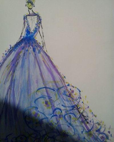 Paperfashionillustration Blue Purple Floraldress Sketch
