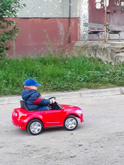 Side view of toy car