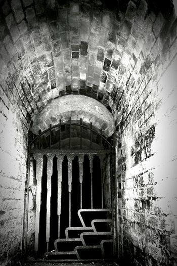Spooky Entrance to Ice House Brick Arch Archway Metal Gate Arch Long Way Down Built Structure Arched Historic Country Park United Kingdom Black & White Black And White Black And White Photography Black & White Photography Nikon D3200