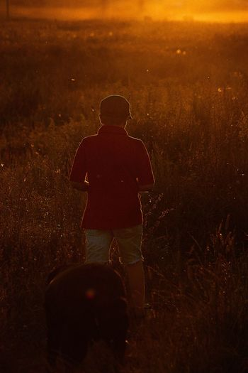 Magic hour of a sunset Russia Silhouette Sunset Rear View Real People Field One Person Nature Full Length Standing Men Landscape Outdoors Childhood Night Mammal People