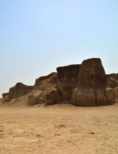 Rock formations in desert against clear sky