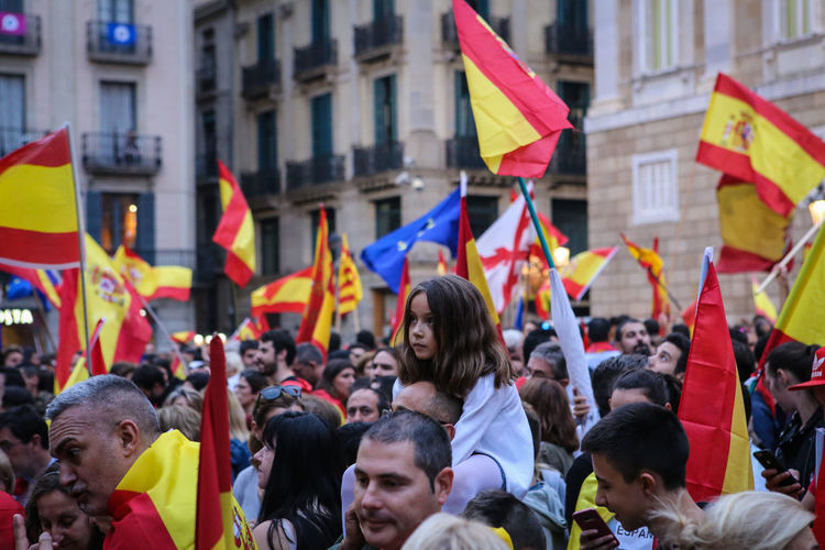 Catalunya Adult Architecture Building Exterior Built Structure City Crowd Day Flag Holding Large Group Of People Men Outdoors People Pride Protest Protestor Real People Referendum Togetherness Unity Women Yellow The Photojournalist - 2018 EyeEm Awards