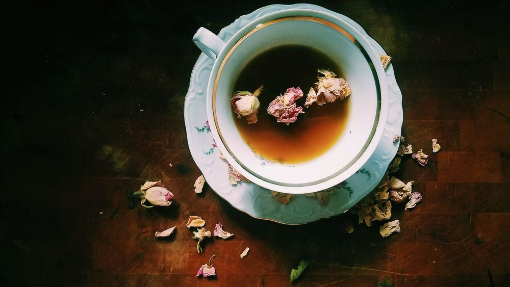 High Angle View Directly Above Table Food And Drink Tea - Hot Drink Flower Drink Roses Rose Tea Rose Petals Herbal Tea Tea Time Afternoon Tea Fine China