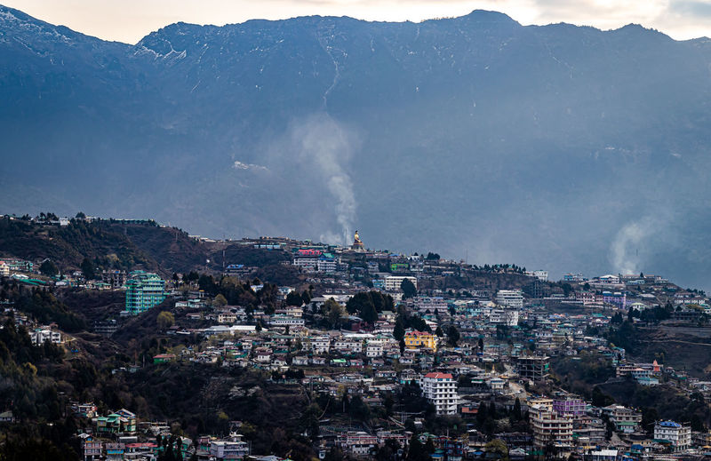 Tawang city view from mountain top at dawn from flat angle