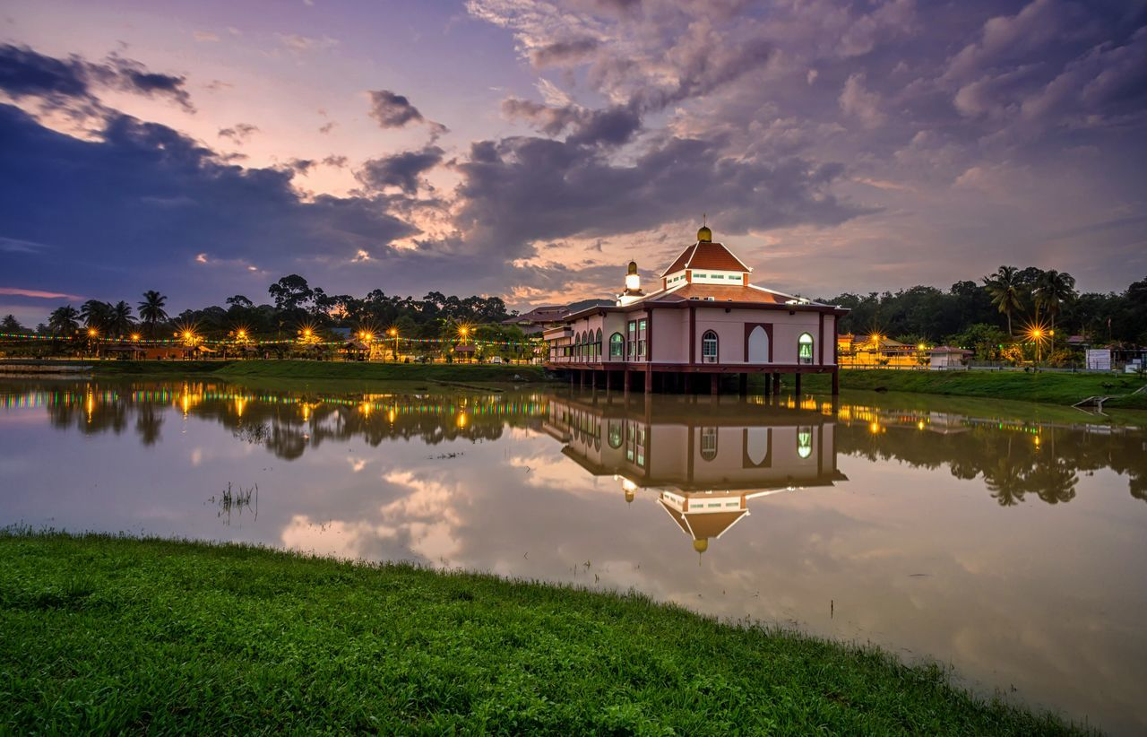 built structure, reflection, water, architecture, building exterior, sky, cloud - sky, lake, building, nature, beauty in nature, no people, plant, waterfront, sunset, tranquility, house, scenics - nature, outdoors