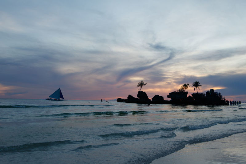 Willy's Rock on Blue Hour, Boracay Island, Philippines Blue Hour Cold Hues EyeEm Best Shots EyeEmNewHere Beach Beauty In Nature Bluish Cloud - Sky Cold Summer Horizon Over Water Nature Nautical Vessel Outdoors Scenics - Nature Sea Silhouette Sky Sunset Tranquil Scene Tranquility Water Waterfront The Traveler - 2018 EyeEm Awards