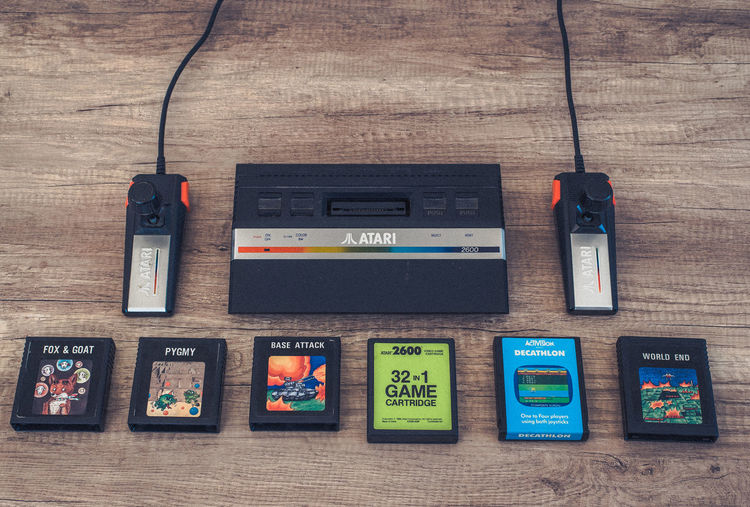 Activision Joysticks  Retro World End Atari Atari2600 Base Attack Decathlon Directly Above Fox & Goat Fox And Goat Joystick Pygmy Table Technology