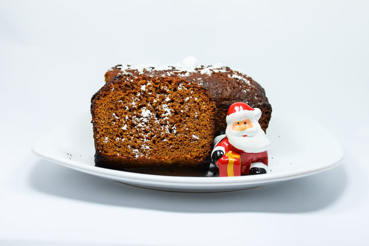 Chocolate Christmas December Delicious Homemade Cristmas Cake Homemade New Year Red Santa Claus Sugar Winter Decoration Europe Fresh Honey Plate Season  Sweet White White Background Honey Bee Ginger Europe