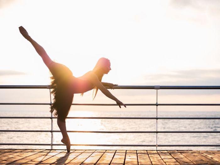 Ballet dancer on shore