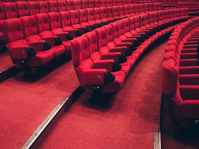 Seat In A Row Movie Theater Indoors  Chair Red Empty Film Industry No People Arts Culture And Entertainment