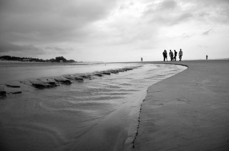Friends standing at beach against cloudy sky