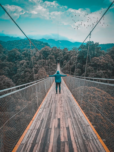 This photo was taken in the tourist area of the bridge there mountain area sukabumi indonesia.