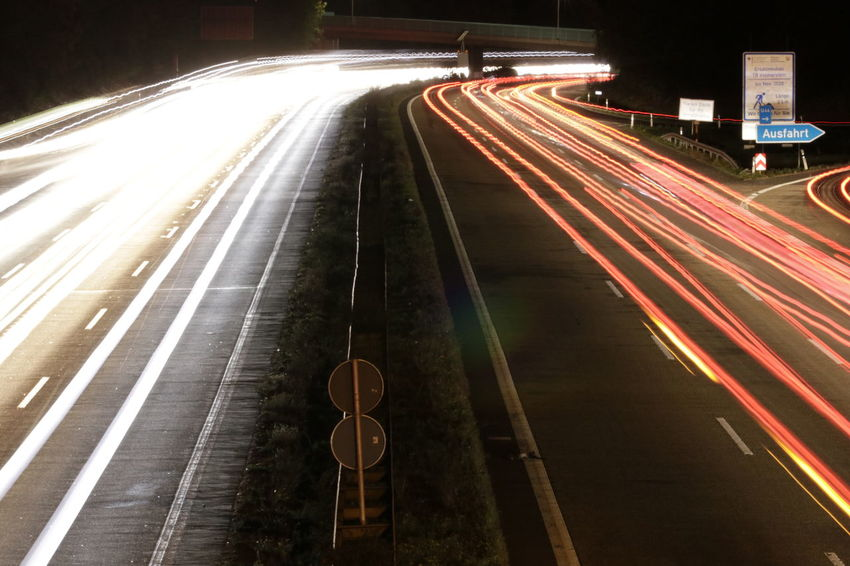 City Illuminated Road Motion Cityscape Aerial View Speed Long Exposure Light Trail City Life Vehicle Light Multiple Lane Highway Traffic Jam Two Lane Highway Highway Traffic Tail Light
