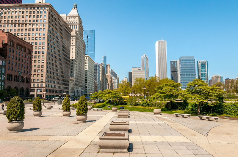 Street in chicago downtown skyline in a sunny day, illinois, usa