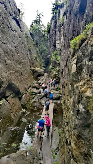 Mountain Day High Angle View Adventure Togetherness Real People Nature Outdoors Lifestyles Leisure Activity Challenge Beauty In Nature Teamwork Water Climbing Tree People Extreme Sports Travel Scenics Nature Reflection Travel Destinations Adults Only Adult