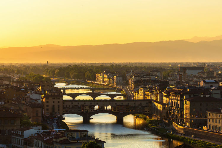 Sunset over florence and the arno river