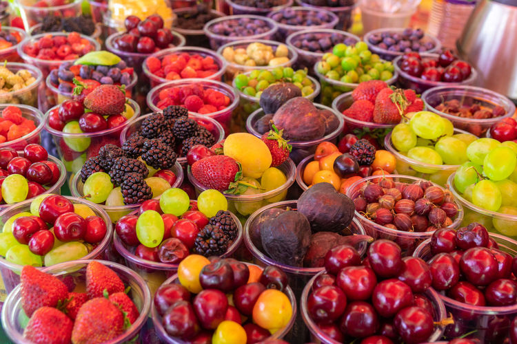 Various fruits in market stall