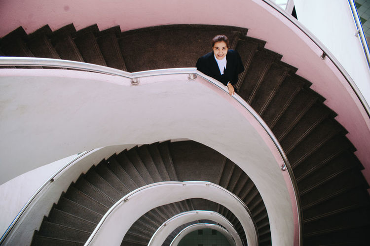 Architectural Feature Ceiling Circle Composition Culture Design Famous Place Fish-eye Lens Historic History Indoors  Lawyer Lifestyles Q one person Ornate Pattern Perspective Railing Spiral Spiral Staircase Staircase Steps Steps And Staircases WomeninBusiness Women Who Inspire You