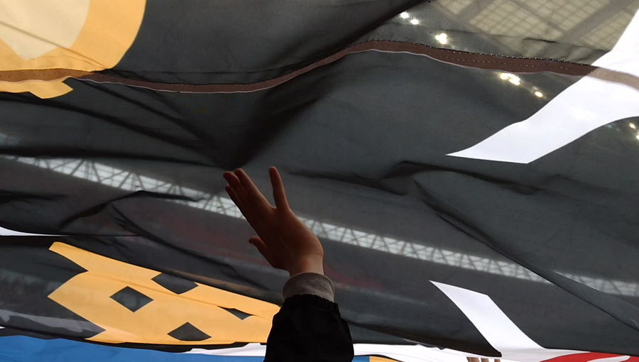 AFC Wimbledon large flag at League 2 playoff AFC Wimbledon Banner Celebration Dons Flag Wembley