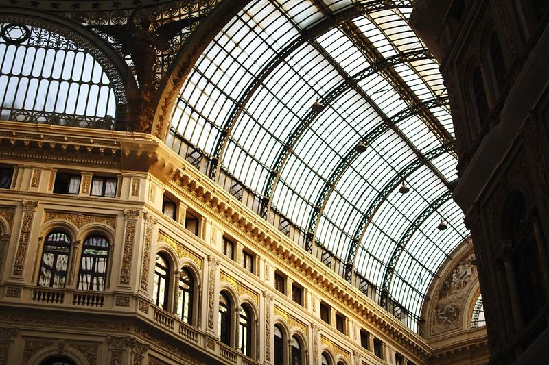 Golden gallery. Architecture Built Structure Low Angle View Ceiling Indoors  Window Arch Travel Destinations Day The Past History No People Architectural Feature Dome Glass - Material Building Ornate Tourism Skylight Architecture And Art