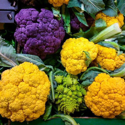 High angle view of cauliflowers at market