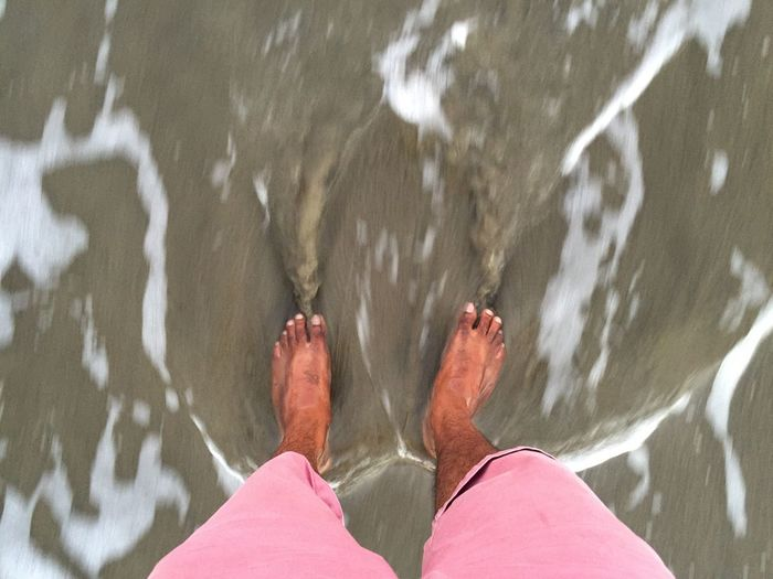 Low Section Person Barefoot Personal Perspective Panoramic Standing Human Foot Water Outdoors Day Tranquility Vacations