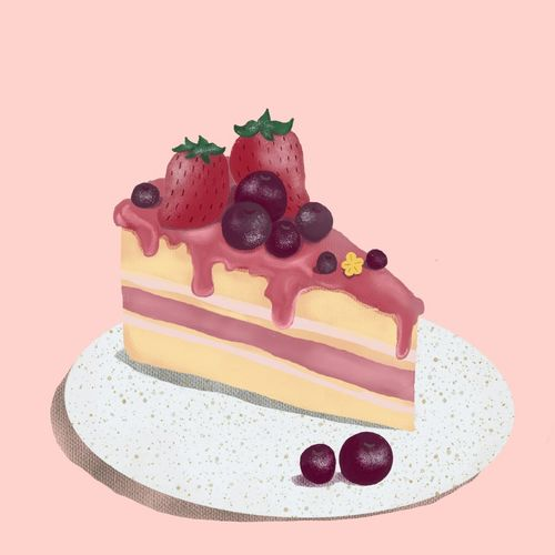High angle view of cake on plate against colored background