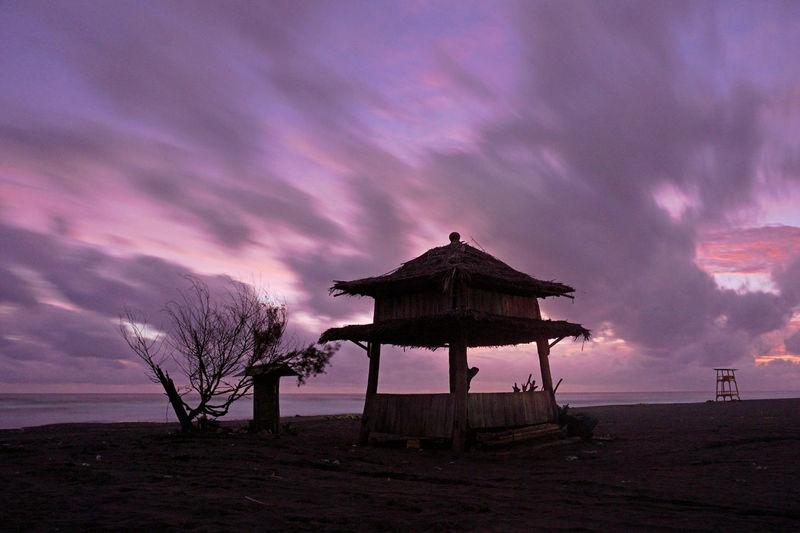 Misty sunset parangtritis beach