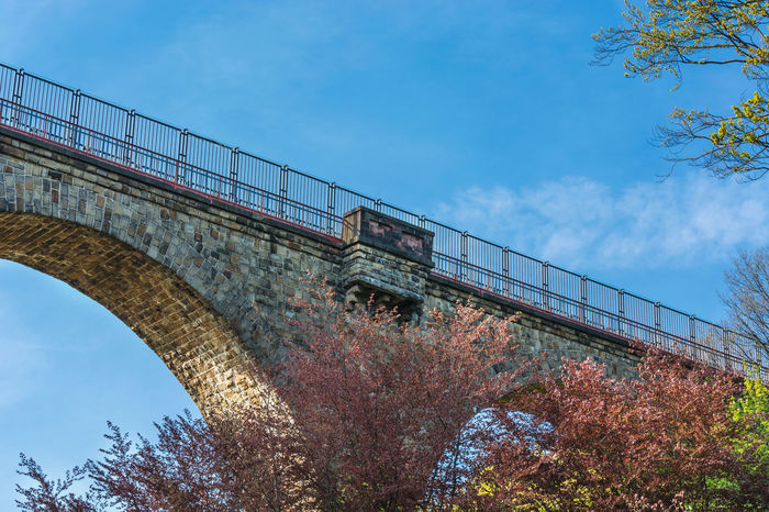 Old stone former railway bridge in Velbert, Germany. The name of the bridge is called Eulenbach bridge or Saubrücke. Architecture Bridge - Man Made Structure Built Structure City Cloud - Sky Connection Day Low Angle View Nature No People Outdoors Railway Bridge Sky Transportation Tree