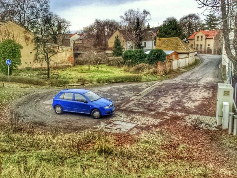 Blick vom Deich im Leipziger Südland ins Dorf Saxony Town Cityscape Street