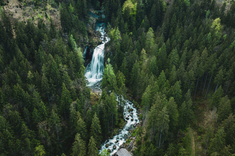 Aerial image of beautiful waterfalls in golling, salzburg, austria